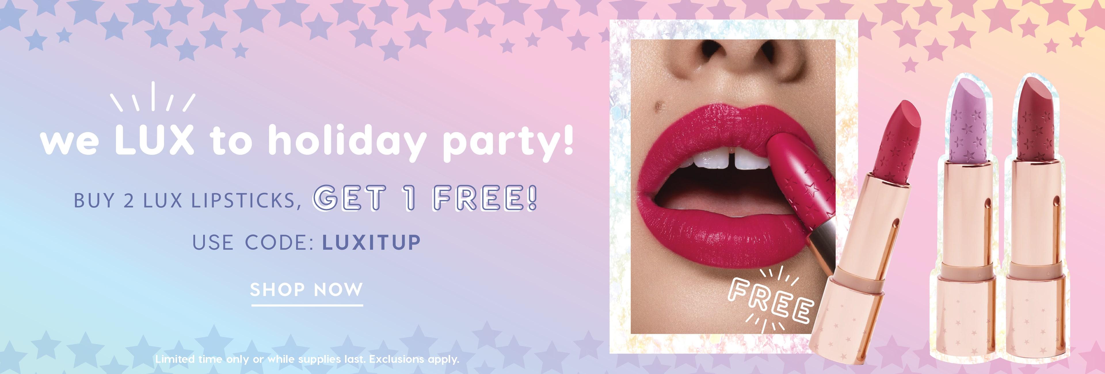 B2G1 Lux Lipsticks! Use code: LUXITUP