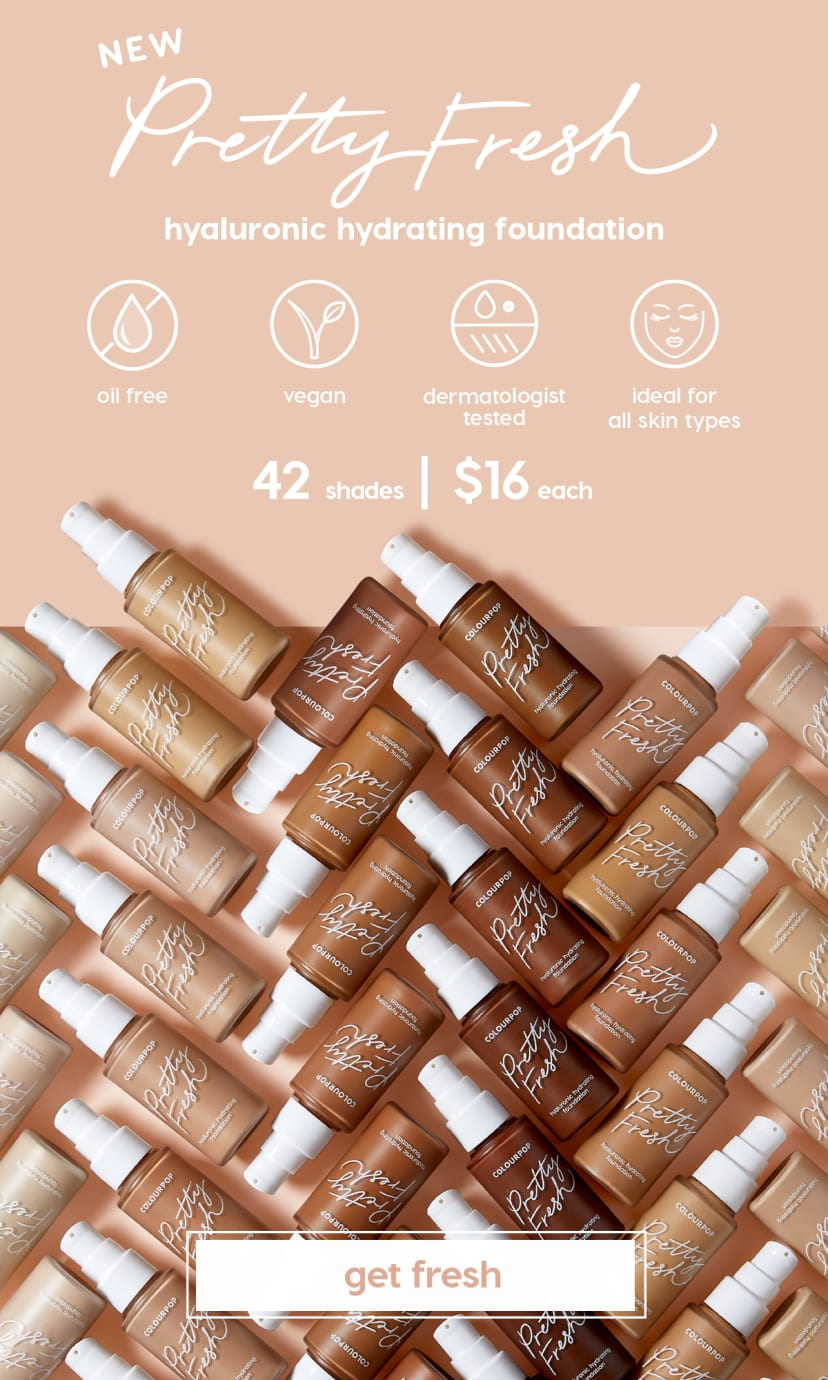 New Pretty Fresh Hyaluronic Hydrating Foundation is oil-free, vegan, dermatologist tested, and ideal for all skin types. 42 shades & $16 each